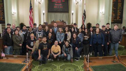 Assemblymember Gray welcomes Merced FFA to the Assembly Floor